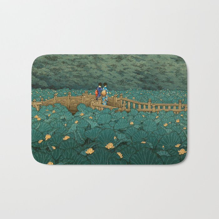 Vintage Japanese Woodblock Print Kawase Hasui Japanese Children Lotus Flowers Garden Wooden Bridge Bath Mat