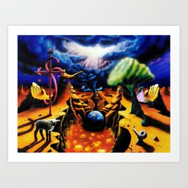 Trippy Psychedelic Surreal Art  - Birth Pangs by VIncent Monaco Art Print