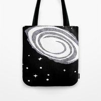 cosmic Tote Bags featuring cosmic  by smurfmonster