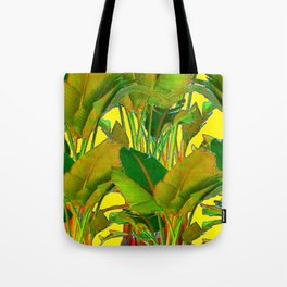 GOLDEN TROPICAL FOLIAGE GREEN & GOLD LEAVES AR Tote Bag