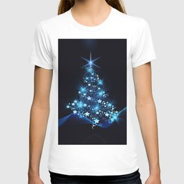 Sparkling Blue Christmas Tree Modern Stars T-shirt