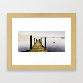 Out Along the Dock. Derwentwater, Lake District, UK. Watercolor Painting. Framed Art Print