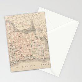 Vintage Map of Jacksonville FL (1878) Stationery Cards