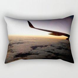 Airplane Wing Window Seat View of Horizon at Dusk Rectangular Pillow