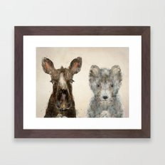 the little wolf and little moose Framed Art Print