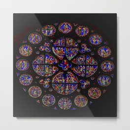 Stained Glass Rose Window 1 Metal Print