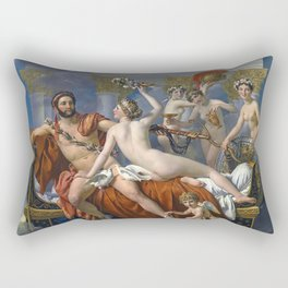 Mars Being Disarmed by Venus and the Three Graces, Fine Art Print Rectangular Pillow
