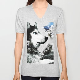 The Husky's Mountain Gaze by Vince Bongiovanni Unisex V-Neck
