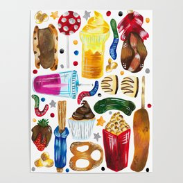 Florida Theme Park Snacks - Hand Painted on White Poster
