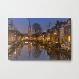 Church reflected in a canal in Delft, The Netherlands Metal Print