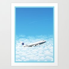 Plane through clouds Art Print