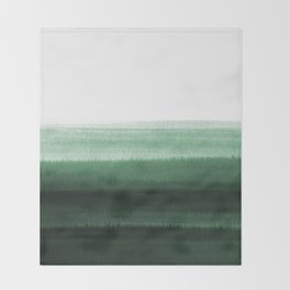 Green Watercolor  Throw Blanket