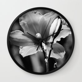 Black-and-White Daylily Wall Clock