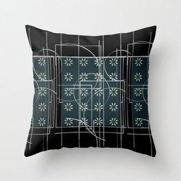 Black Green Grey Digital Daisy Abstract Throw Pillow