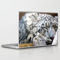 snow leopard Laptop & iPad Skins featuring Snow leopard by Laura Grove