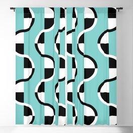 Geo Modern - Geometric Pattern Blue Black White Blackout Curtain