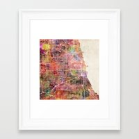 chicago map Framed Art Prints featuring Chicago map by MapMapMaps.Watercolors