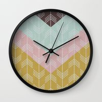 arrows Wall Clocks featuring arrows by Emma S