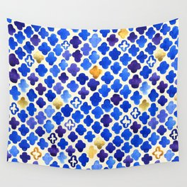 Rustic Watercolor Moroccan in Royal Blue & Gold Wall Tapestry