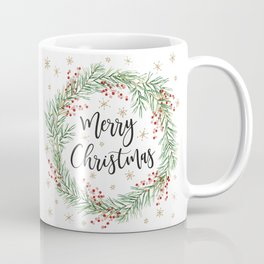 Merry Christmas wreath with red berries Coffee Mug