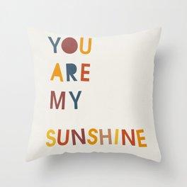 You are my sunshine, Mid century modern kids wall art, Nursery room Throw Pillow