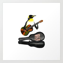 King Penguin Busking Playing Guitar T-shirt Art Print
