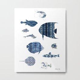 Shibori Sea Metal Print