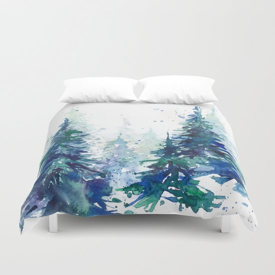 Watercolor winter fir forest Christmas by maryami