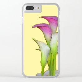 PURPLE & WHITE CALLA LILIES FLORAL YELLOW ART Clear iPhone Case