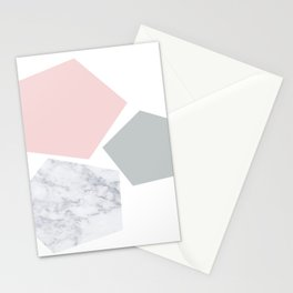Blush, gray & marble geo Stationery Cards