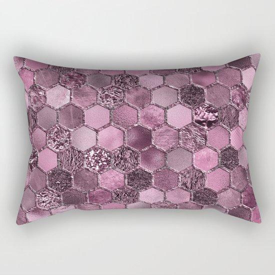Pink & purple geometric hexagonal elegant & luxury pattern Rectangular Pillow