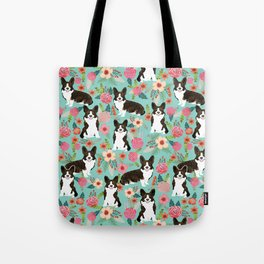 Brindle Cardigan Corgi Florals - cute corgi design, corgi owners will love this mint florals corgi Tote Bag