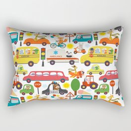 Busy City Zoo Animal Transportation Pattern Rectangular Pillow