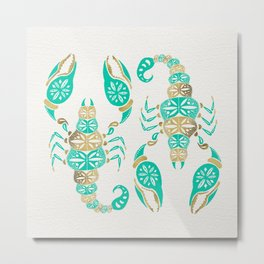 Scorpion – Turquoise & Gold Metal Print