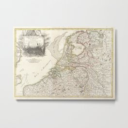 Vintage Map of Holland and Belgium (1775) Metal Print