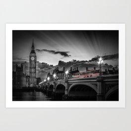 LONDON Westminster Bridge at Sunset | Colorkey Art Print