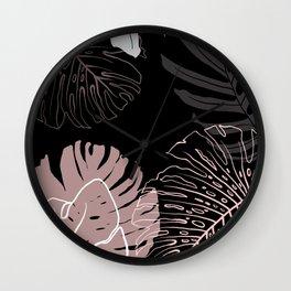 monstera leaves on black drawing Wall Clock