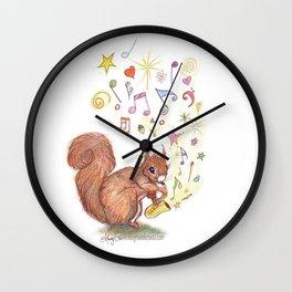 SAXOPHONE SQUIRREL  Music Musical Child's bedroom Present Boy Girl Baby Cure Art Nursery Art Pencil  Wall Clock