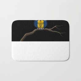 Baby Owl with Glasses and Barbados Flag Bath Mat