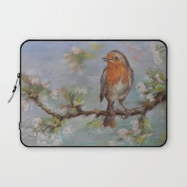 Red Robin Small bird on a blooming twig Wildlife spring scene Pastel drawing Laptop Sleeve