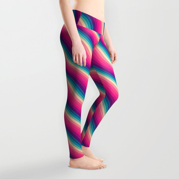 Abstract Color Burn Pattern - Geometric Lines / Optical Illusion in Rainbow Acid Colors Leggings