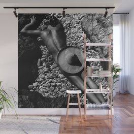 A Girl at the Beach with just her hat black and white photography Wall Mural