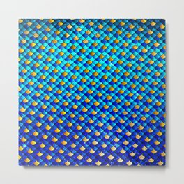 Ocean Blue Mermaid Scales -Beautiful Abstract Glitter Pattern Metal Print