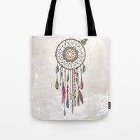 catcher in the rye Tote Bags featuring Lakota (Dream Catcher) by Rachel Caldwell