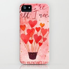 Valentine's day watercolor art iPhone Case