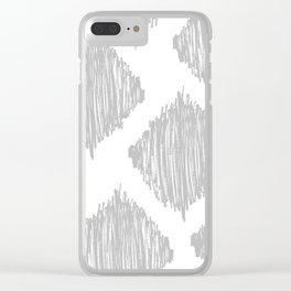 Gray Scribble Diamonds Clear iPhone Case