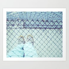 At the School Fence Art Print