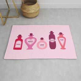 Pink Love Potion bottles for Valentine's art work Rug