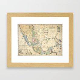 Vintage Map of Mexico (1847) Framed Art Print