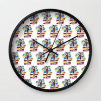 80s Wall Clocks featuring 80s Vampire by JudithzzYuko